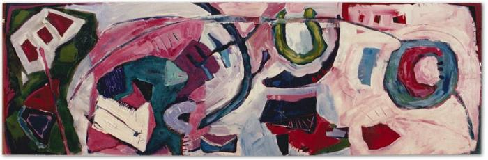 Margaret Kelley: The Mechanics of Conception, 1986, Acrylic on Wood, 60 x 182 cm