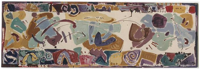 Margaret Kelley: Stranded Between 3 Worlds, 1986, Ink, Acrylic on Paper, 38x140cm