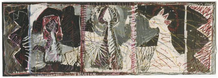 Margaret Kelley: Holy Rocket with 2 Disciples, 1987, Ink, Crayon, Collage, 43x100cm