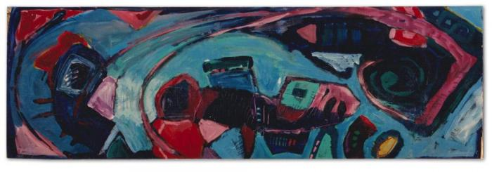 Margaret Kelley: The Banishment, 1986, Acrylic on Wood, 60 x 182 cm