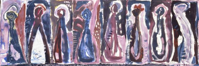 Margaret Kelley: Study for the Holy Rockets, 1986, Acrylic on Paper
