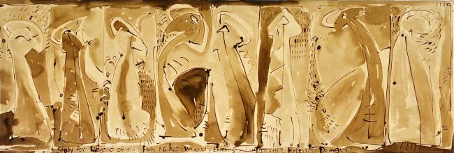 Margaret Kelley: Study for Legend of the Holy Rockets, 1986, Ink on Paper, 60 x 182 cm