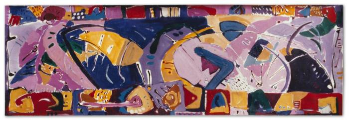 Margaret Kelley: Looking Back While Moving Forward, 1986, Ink+Acrylic on Paper, 38x114cm